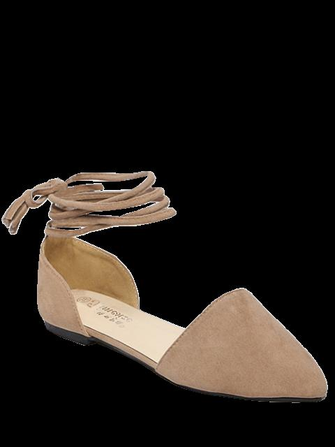 buy Tie Up Pointed Toe Flock Flat Shoes - LIGHT KHAKI 39 Mobile
