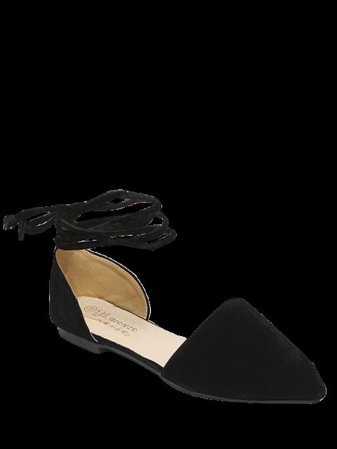 lady Tie Up Pointed Toe Flock Flat Shoes -   Mobile