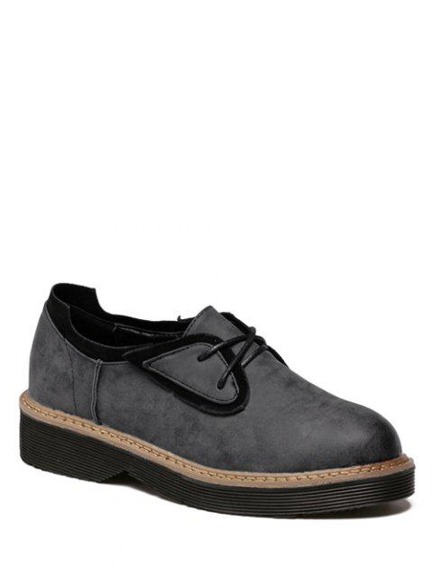 Bout rond Tie Up Platform Shoes Splicing - Gris Noir 37 Mobile