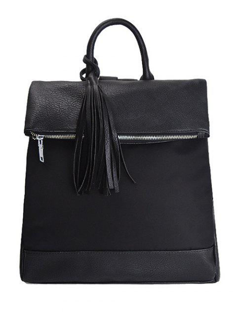 online Tassel Nylon PU Leather Backpack -   Mobile