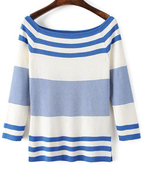 Striped encolure bateau Side Slit Tricots - Bleu et Blanc TAILLE MOYENNE Mobile