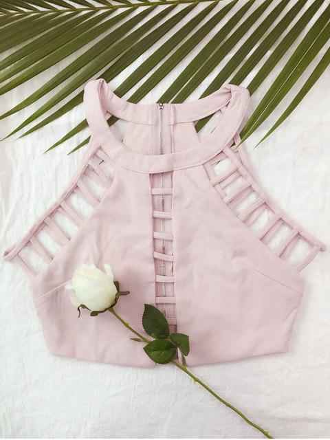 outfits Ladder Cutout Crop Top - PINK M Mobile