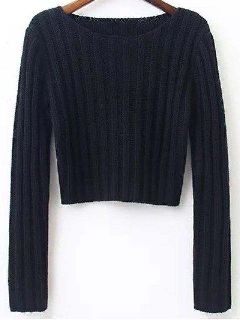 womens Long Sleeve Round Neck Cropped Sweater - BLACK S Mobile
