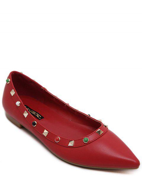 chic Pointed Toe Rivet Bead Flat Shoes - RED 38 Mobile