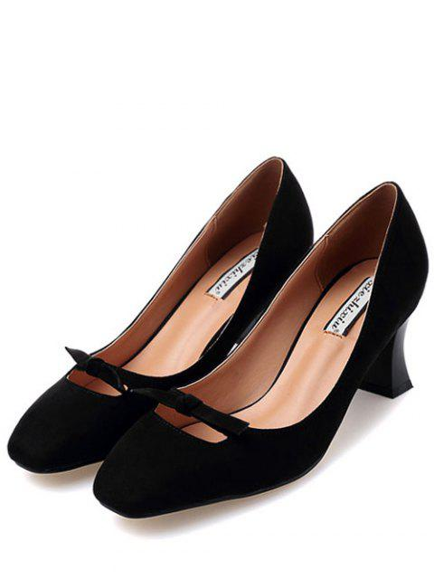 affordable Chunky Heel Bowknot Square Toe Pumps - BLACK 38 Mobile