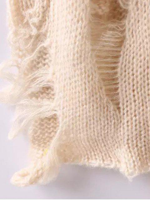 new Scoop Neck Sunflower Jacquard Ripped Sweater - APRICOT L Mobile