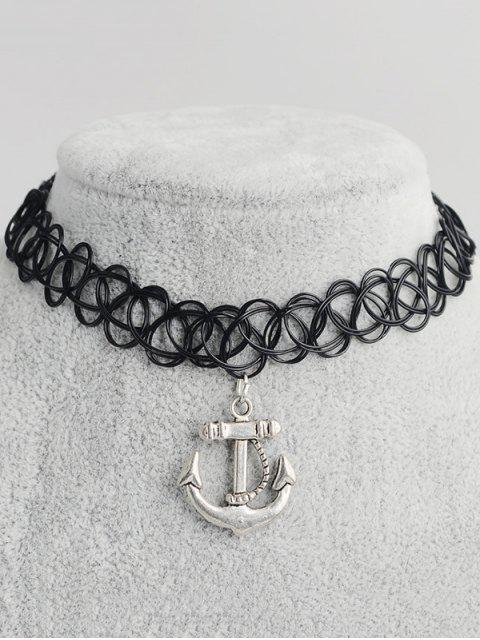trendy Anchor Hollow Out Tattoo Choker - BLACK  Mobile