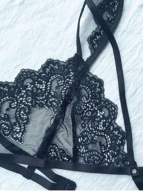hot Lace 3/4 Cup Strappy Bra - BLACK M Mobile
