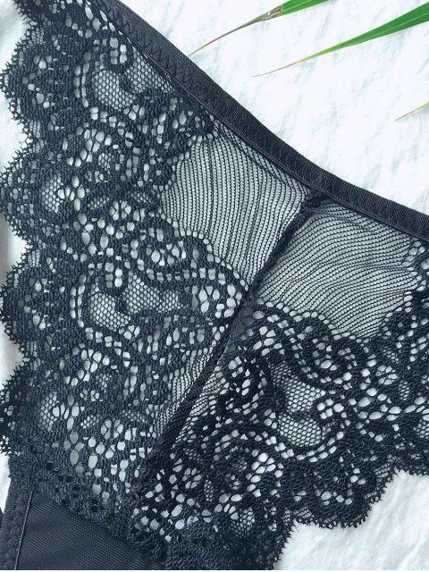 shops See-Through Openwork Lace Panties - BLACK XL Mobile