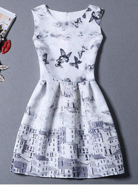 shops Castle Butterfly Sundress - GREY AND WHITE M Mobile