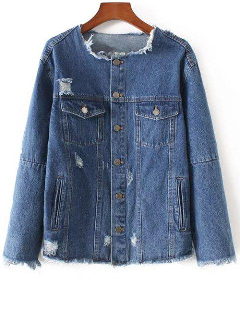 Frayed Denim Jacket - Bleu de Denim M Mobile