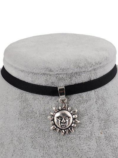 Faux Leather Sun Shape Choker - Black