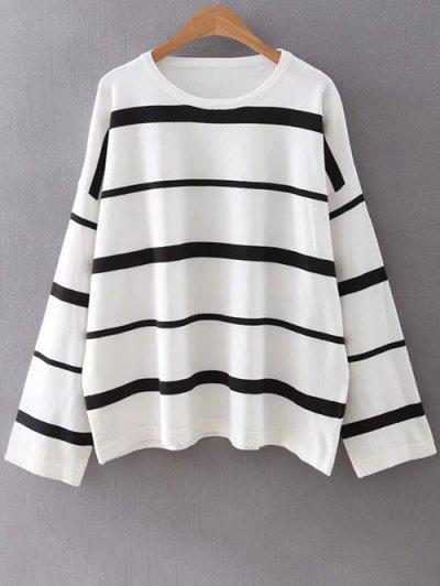 Striped Round Neck Knitwear - White