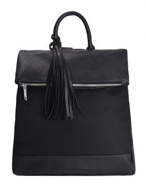 Tassel Nylon PU Leather Backpack