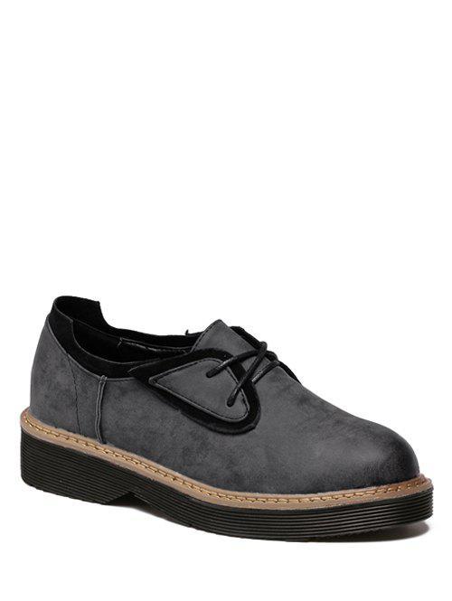 Round Toe Tie Up Splicing Platform Shoes