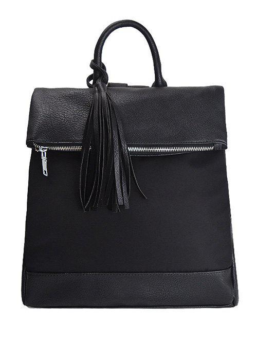 Tassel Nylon PU Leather Backpack
