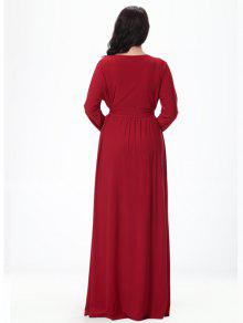 c098658ff9103 2018 V-Neck Long Sleeve High-Waisted Maxi Dress In RED 3XL