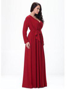 f51c298cb4cfb 2018 V-Neck Long Sleeve High-Waisted Maxi Dress In RED 6XL