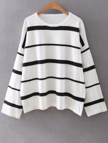 Striped Col Rond Tricots - Blanc