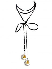 Buy Faux Leather Bowknot Moon Brother Choker - BLACK