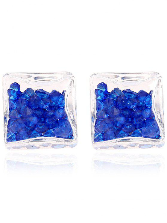 outfits Square Rhinestone Stud Earrings - SAPPHIRE BLUE