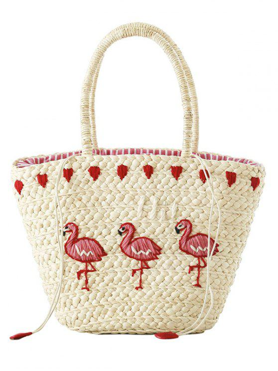 Embroidered Flamingo Straw Tote Bag - Off-white