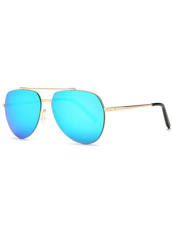 latest Lightweight Mirrored Pilot Sunglasses - LIGHT BLUE