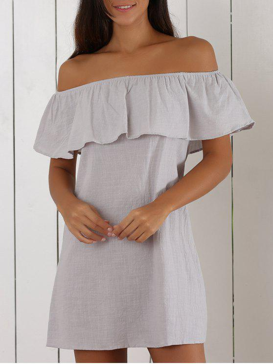 fashion Off The Shoulder Ruffles Insert Casual Dress - LIGHT GRAY M