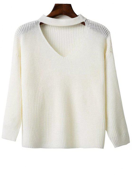 new Oversized Drop Shoulder Choker Sweater - WHITE ONE SIZE