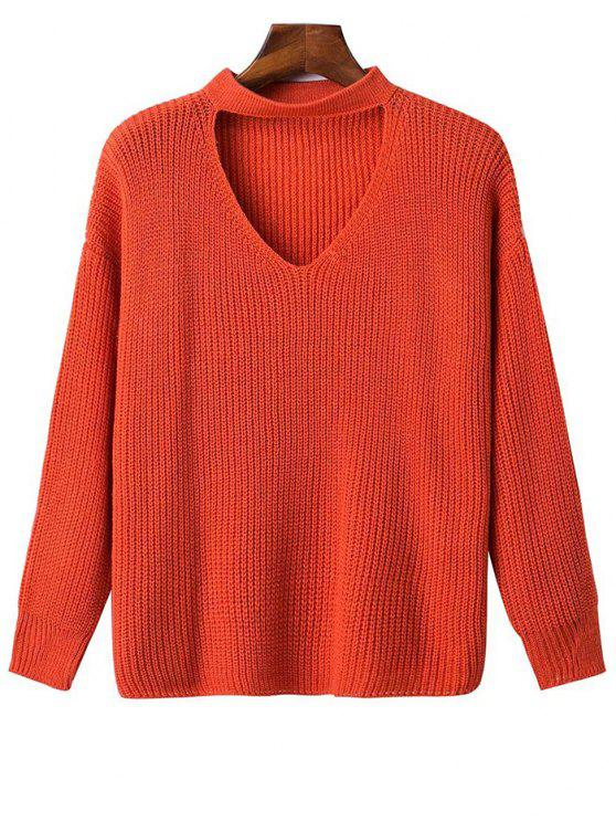 Übergröße Pullover mit Halsband und Fall Schulter - Roter Zirkon Eine Größe