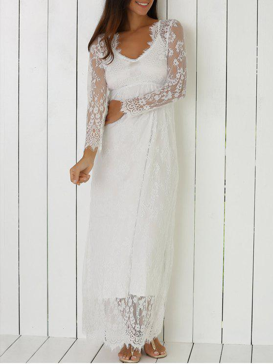 womens See-Through Lace Dress With Sleeves - WHITE L