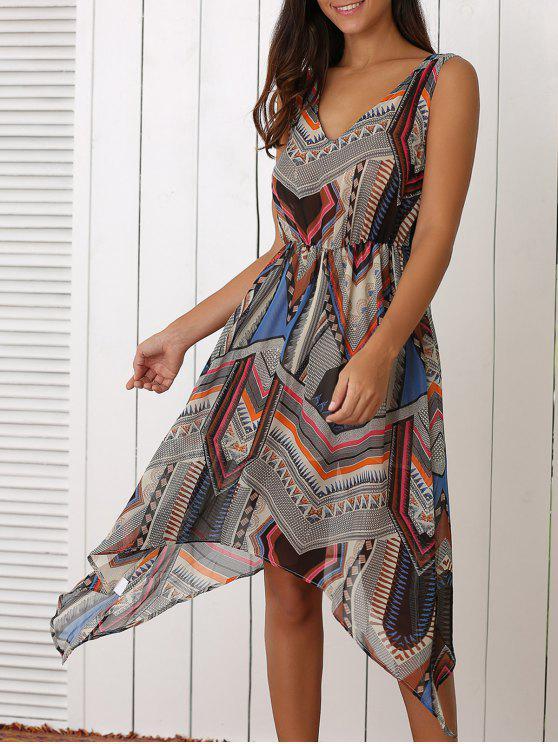 chic Retro Geometric Print V-Neck Waisted Dress - COLORMIX L