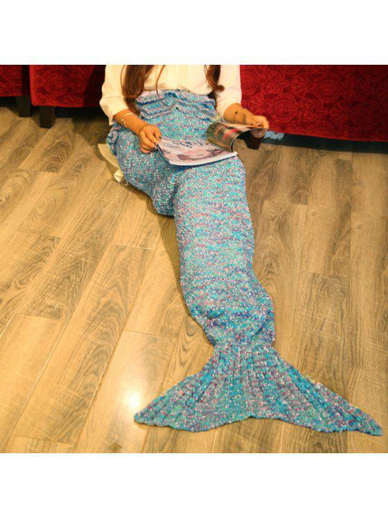 أنيق فالبالا التصوير أو أريكة لون مختلطة محبوك حورية البحر بطانية - محيط أزرق