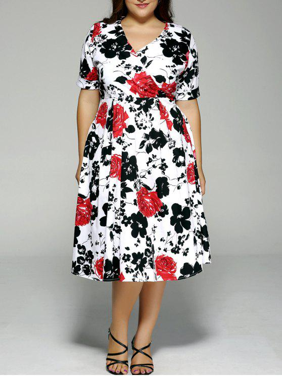 Plus Size High Waist Floral Surplice Dress Black And White And Red