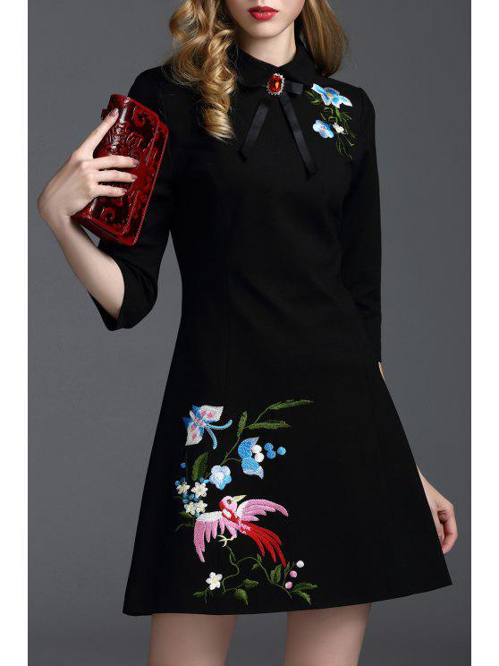 best Embroidered Bowknot A Line Work Dress - BLACK L