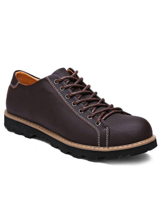 Extremely Stitching Lace-Up Leather Casual Shoes - BROWN Hard Wearing Cheap Latest Collections Fast Delivery oe5Re