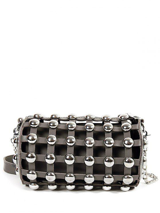 sale Chain Metal Rivets Cylinder Shape Crossbody Bag - GRAY