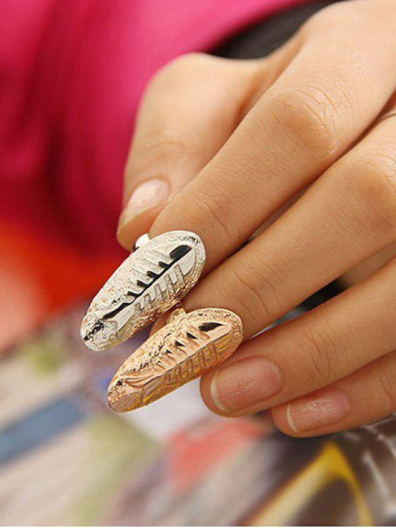 unique Embossed Fishbone Nail Rings - SILVER AND GOLDEN