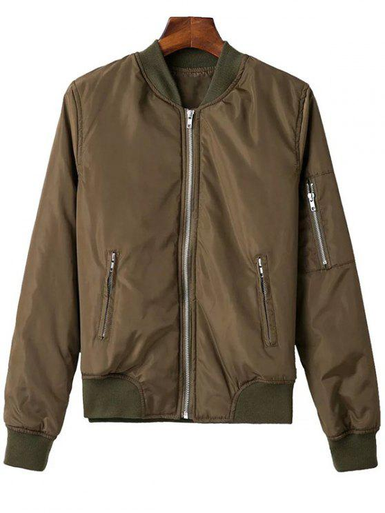women Zip Pocket Sport Jacket - ARMY GREEN XS
