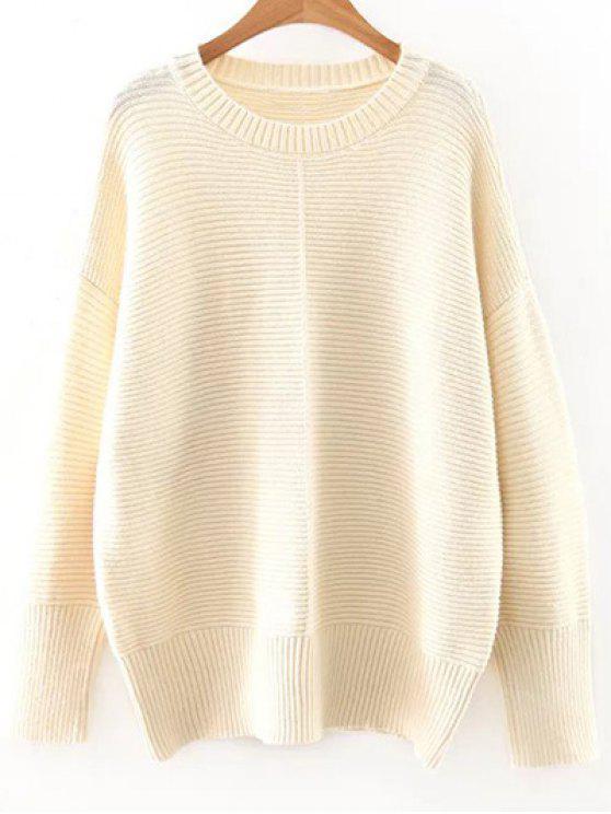Épaule Drop Manches Sweater - Blanc Cassé Taille Unique