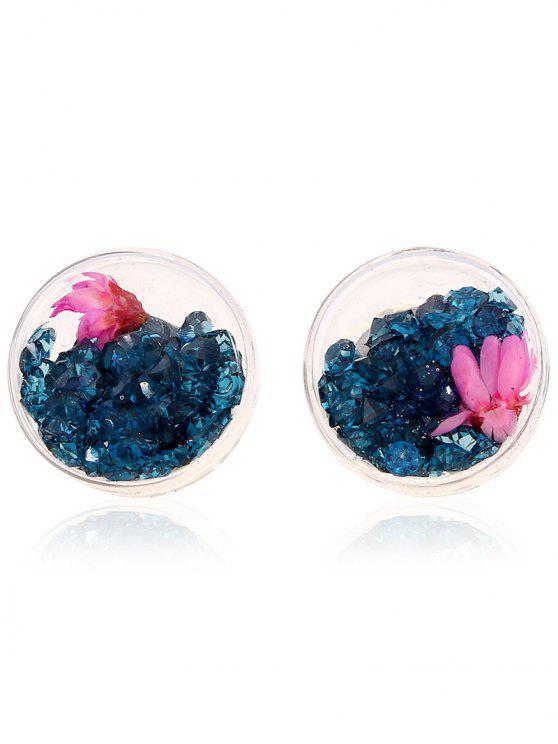 Pendientes de la flor del Rhinestone - Pavo Real Azul