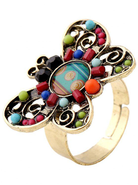women Beaded Butterfly Ring - COLORMIX