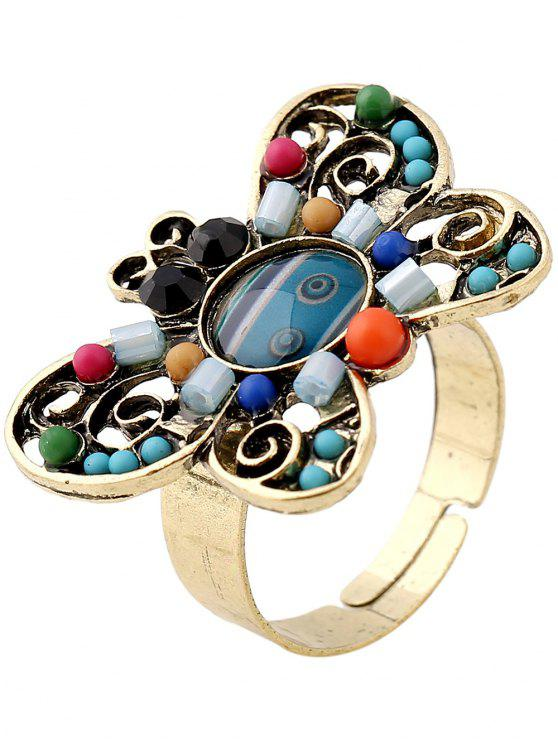 women's Beaded Butterfly Ring - PEACOCK BLUE