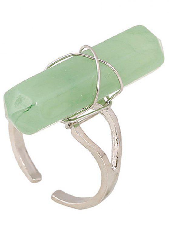 lady Faux Gemstone Open Ring - GREEN