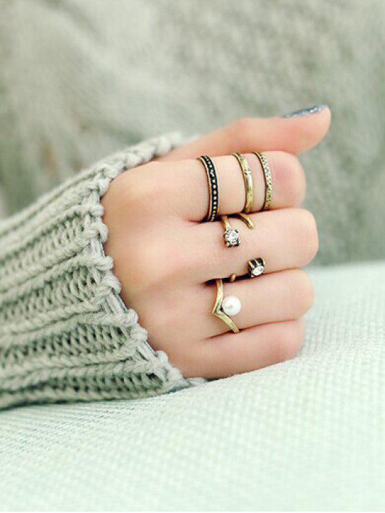 online Rhinestone Caged Rings - GOLDEN