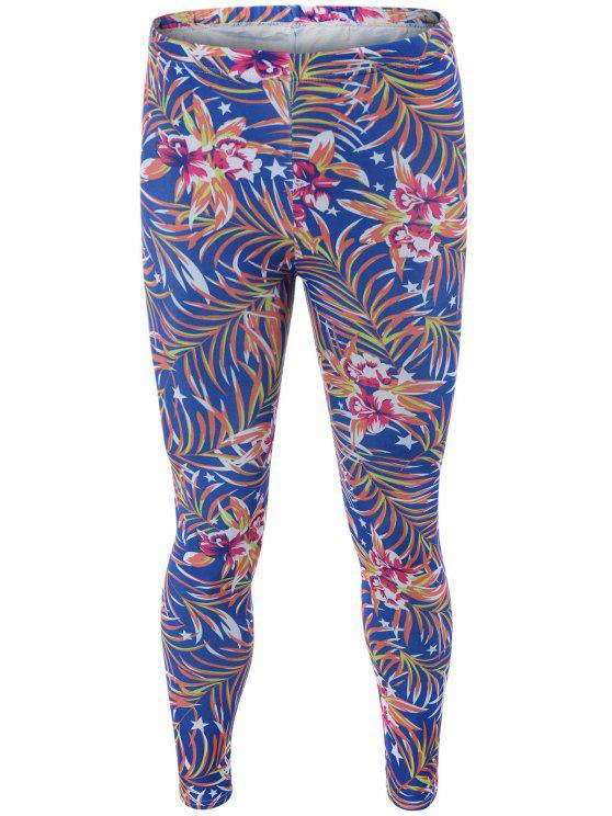 shops High Waisted Orchid Print Bodycon Leggings - BLUE ONE SIZE