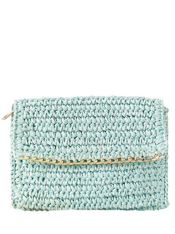 new Weaving Straw Chain-Trimmed Clutch Bag - LIGHT BLUE