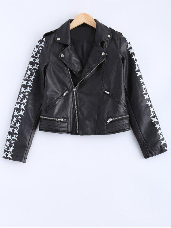 shop Lapel Collar Letter Print PU Leather Jacket - BLACK S