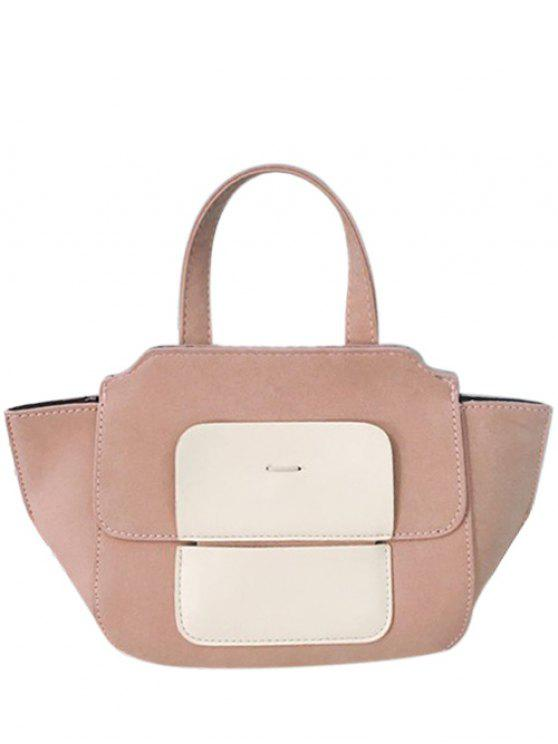 best Winged Color Block Tote Bag - PINK