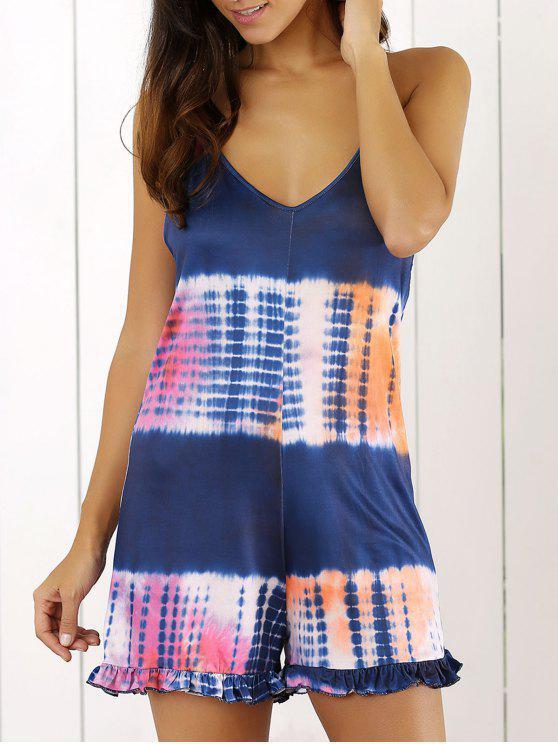 women's Tie Dye Print Cami Loose Romper - BLUE M
